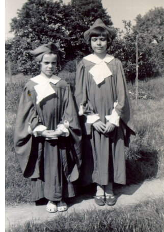 Ann Binks (right) in the church choir with her sister